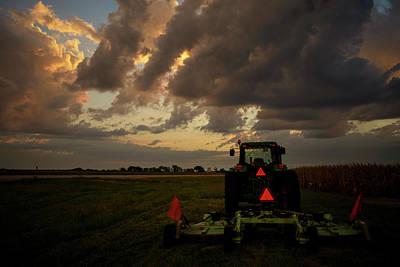 Photograph - Tractor At Sunrise - Chester Nebraska by Art Whitton