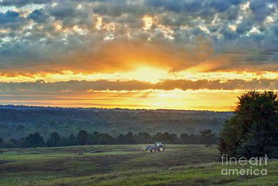 Photograph - Tractor At Texas Sunrise by Catherine Sherman