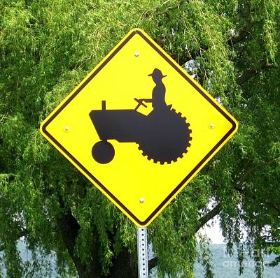 Photograph - Tractor Crossing Sign In Western New York by Rose Santuci-Sofranko