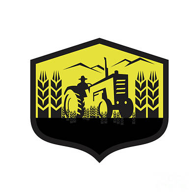 Harvesting Digital Art - Tractor Harvesting Wheat Farm Crest Retro by Aloysius Patrimonio