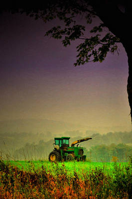 Farm Scene Photograph - Tractor Haze by Emily Stauring