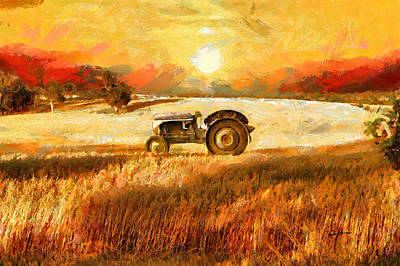 Tractor In A Field Print by Anthony Caruso