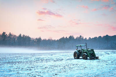 Christmas Holiday Scenery Photograph - Tractor In A Snowy Field Durham Nh by Eric Gendron