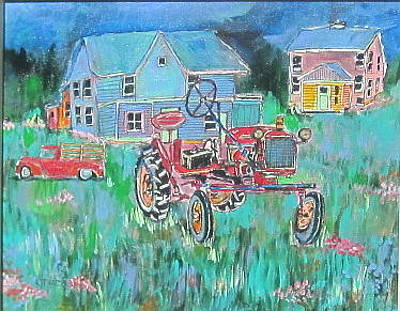 Litvack Painting - Tractor In Field by Michael Litvack