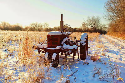 Photograph - Bard Road  Il Tractor In Snow   by Tom Jelen