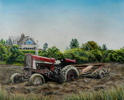 Wall Art - Painting - Tractor In The Mud by Melinda Zielfelder