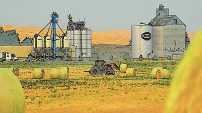 Photograph - Tractor Moving Hay 7352 by Jerry Sodorff