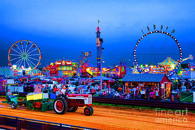 Tractor Pull At The County Fair Print by Olivier Le Queinec