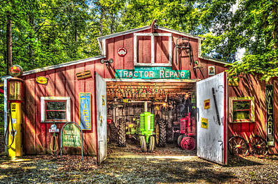 Photograph - Tractor Repair Shoppe by Debra and Dave Vanderlaan
