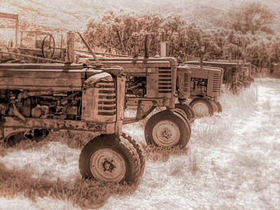 Photograph - Tractor Row Sepia by David King