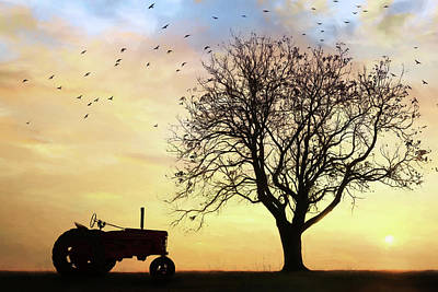Photograph - Tractor Silhouette by Lori Deiter