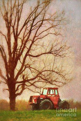 Painting - Tractor Under A Tree Ap by Dan Carmichael