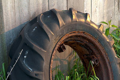 Photograph - Tractor Wheel by Steven Dunn