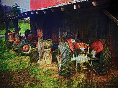 Shed Digital Art - Tractors by Brian Wallace