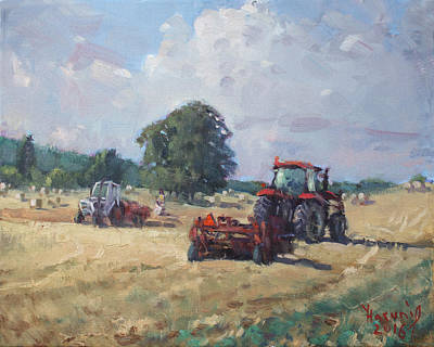 Georgetown Wall Art - Painting - Tractors In The Farm Georgetown by Ylli Haruni