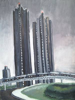 Trussed Painting - Tracy Towers At Night by Craig Barrack