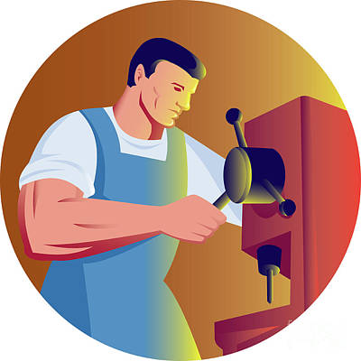 Trade Factory Worker Working With Drill Press Art Print by Aloysius Patrimonio