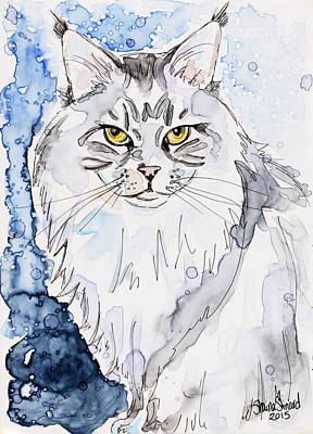 Watercolor Pet Portraits Painting - Trader The Maine Coon by Shaina Stinard