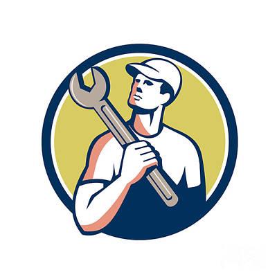 Tradesman Digital Art - Tradesman Mechanic Spanner Circle Retro by Aloysius Patrimonio