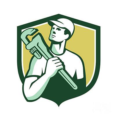 Tradesman Digital Art - Tradesman Plumber Wrench Shield Retro by Aloysius Patrimonio
