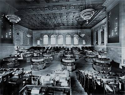 Exchange Place Photograph - Trading Floor Of The Former New York by Everett