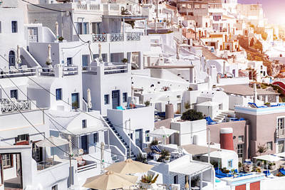 Rock Photograph - Traditional Architecture On Fira Town Santorini Island by Michal Bednarek