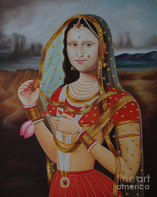 Traditional Art Monalisa Oil Painting On Canvas Art N India Art Gallery Art Print by A Mahesh