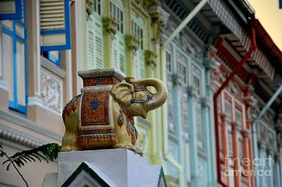 Photograph - Traditional Asian Decorated Elephant Guards House Gate Singapore by Imran Ahmed