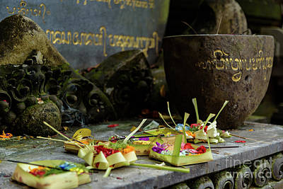 Photograph - Traditional Balinese Offering At Tirta Empul Water Temple, Bali, Indonesia by Global Light Photography - Nicole Leffer