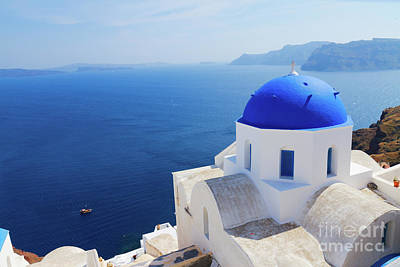 Photograph - Iconic Blue Dome Of Santorini by Anastasy Yarmolovich