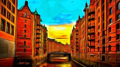 England Digital Art - Traditional Buildings - Da by Leonardo Digenio
