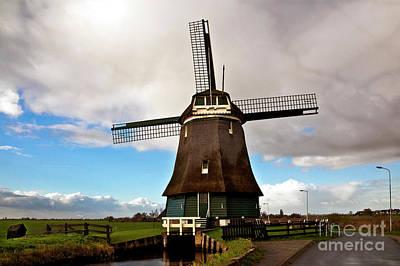 Traditional Dutch Windmill Near Volendam  Art Print