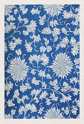 Mixed Media - Traditional Ethnic Blue Floral Pattern - Wall Art Prints  by Wall Art Prints