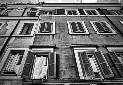 Photograph - Traditional Facade Of Roman House In Black And White by Eduardo Jose Accorinti