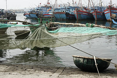 Transportation Photograph - Traditional Fishing Boat With Net And Woven Bamboo Basket by Dani Prints and Images