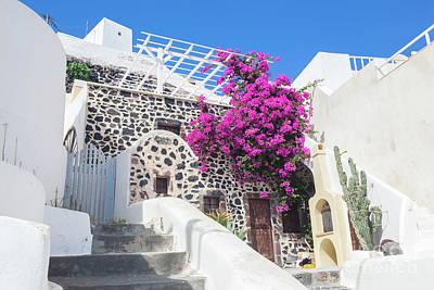 Photograph - Traditional Greek Whitewashed Stone House, Santorini Island, Greece. by Michal Bednarek