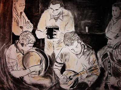Traditional Irish Music Session Art Print by Gerard Dillon