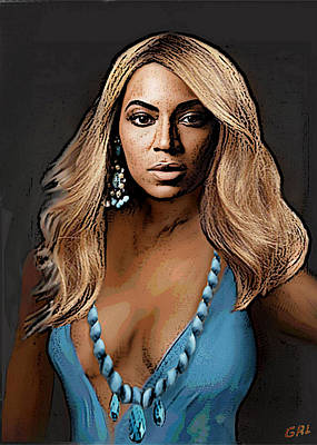 Art Print featuring the painting Traditional Modern Original Painting Beyonce In Turquoise by G Linsenmayer