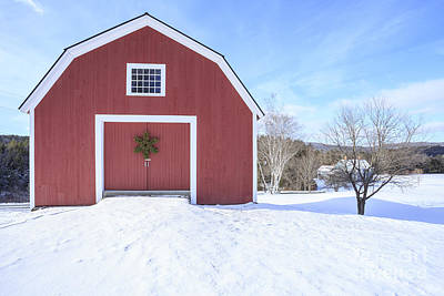 Traditional New England Red Barn In Winter Art Print by Edward Fielding