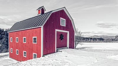 Photograph - Traditional New England Red Barn In Winter Landscape by Edward Fielding