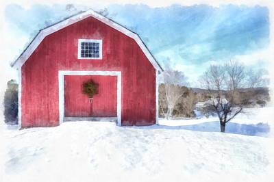 New England Snow Scene Painting - Traditional New England Red Barn In Winter Watercolor by Edward Fielding