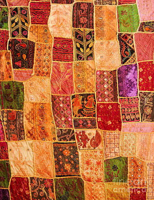 Tapestries Textiles Photograph - Traditional Patchwork Tapestry by Grigorios Moraitis
