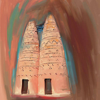 Pigeon Painting - Traditional Pigeon Houses 676 3 by Mawra Tahreem