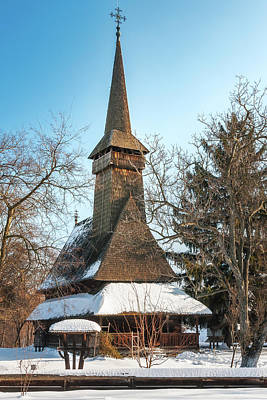 Photograph - Traditional Romanian Wooden Church Covered In Snow  by Daniela Constantinescu
