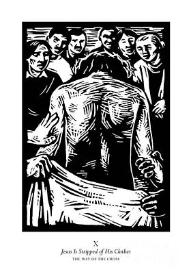 Painting - Traditional Stations Of The Cross 10 - Jesus Is Stripped Of His Clothes - Jljis by Julie Lonneman