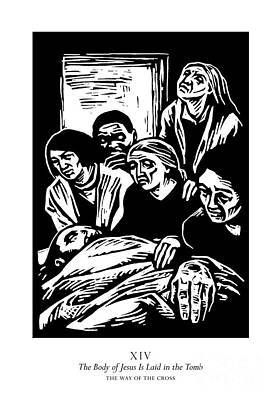 Painting - Traditional Stations Of The Cross 14 - The Body Of Jesus Is Laid In The Tomb - Jljil by Julie Lonneman