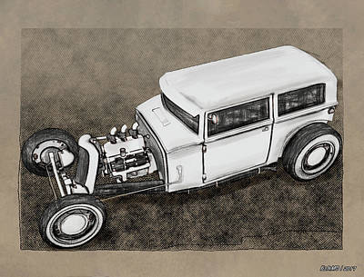 Digital Art - Traditional Styled Hot Rod Sedan by Ken Morris