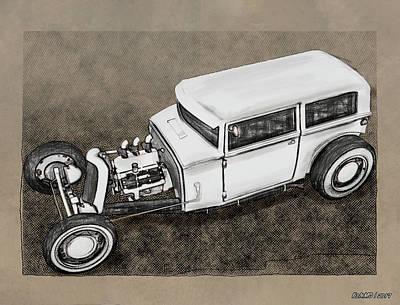 Digital Art - Traditional Styled Hot Rod Sedan by Ken Morris