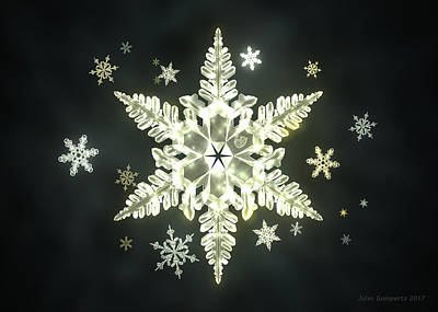 Artwork Digital Art - Traditional Sunlight Snowflakes by Jules Gompertz