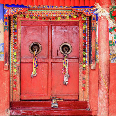 Photograph - Traditional Tibetan Doors by Alexey Stiop